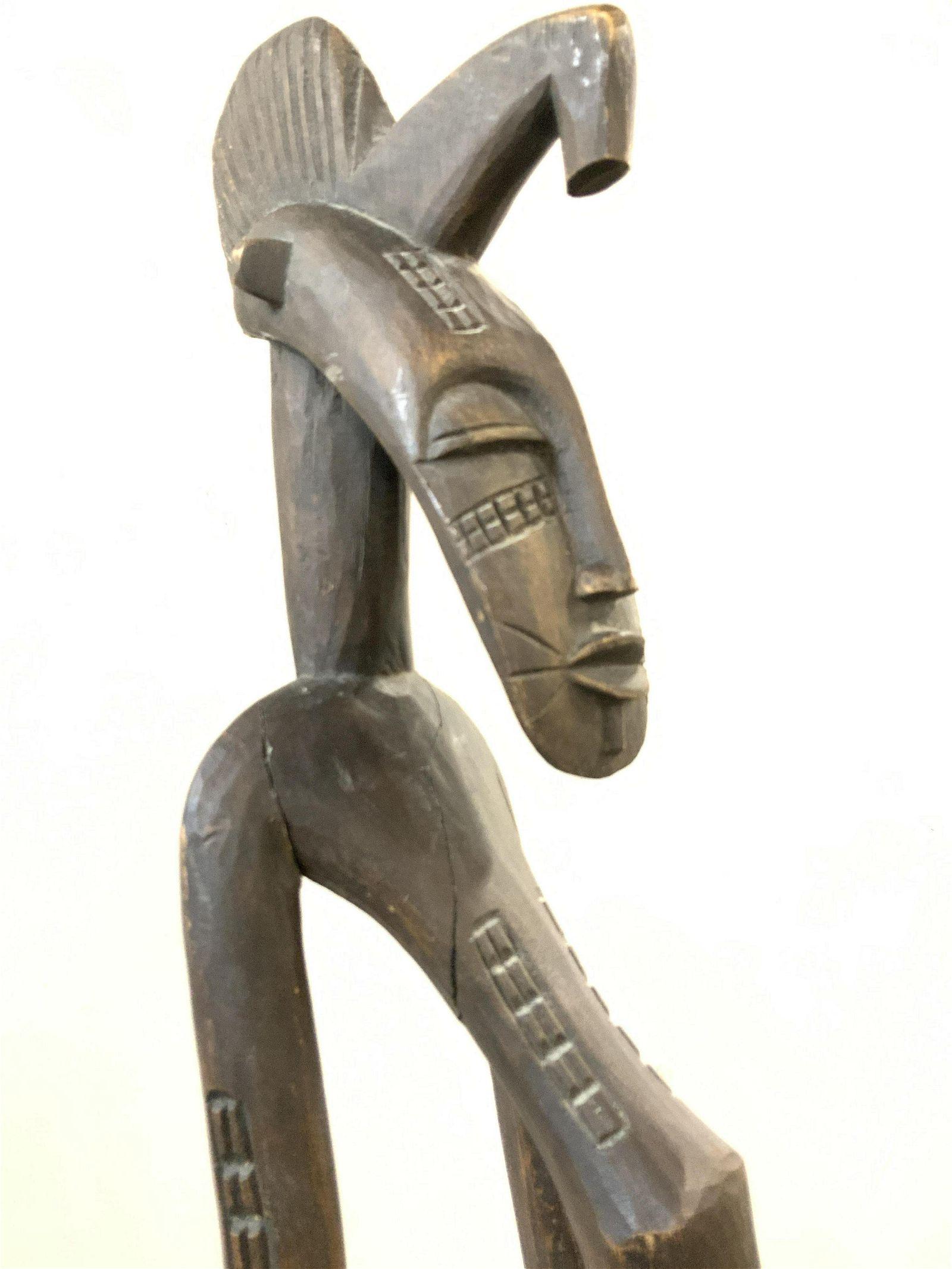 Floor Sz Handcrafted Tribal Wood Sculpture, 56.5in