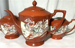 3 Pc Signed Asian Porcelainware Tea Set