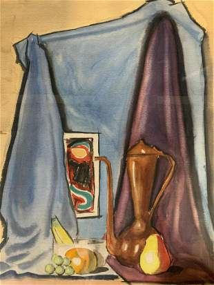 ME Signed Watercolor Painting, Still Life