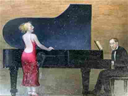 JENNIFER LI Signed Oil Painting, Pianist & Singer