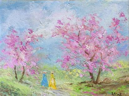 ZAZA MUELI Signed Oil on Panel Artwork