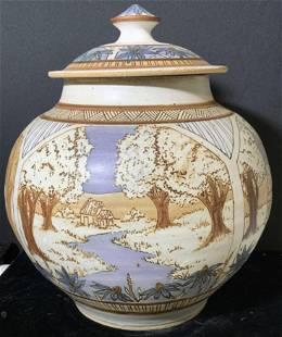 Signed Artist Stoneware Ginger Jar Centerpice