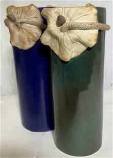 Pr JAPANESE Glazed Vases w Flower and Snail Relief