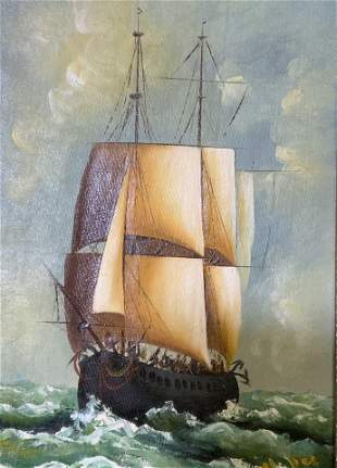 Signed Oil on Canvas Ship Artwork