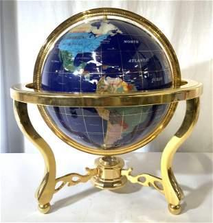 Gem Stone Globe Earth W Metal Support & Feet