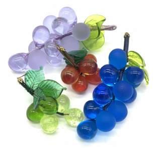 Grp 4 Colored Art Glass Grape Bunches