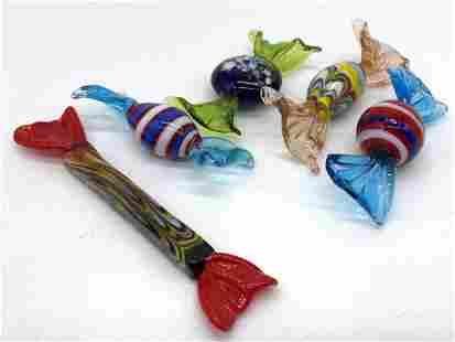 Lot 5 Art Glass Candy Decor