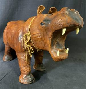 Vintage Floor Sized Leather Hippo Statue