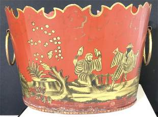 Vintage Asian Toleware Bucket with Carry Rings