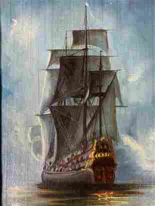 CH Signed Oil Painting of Ship
