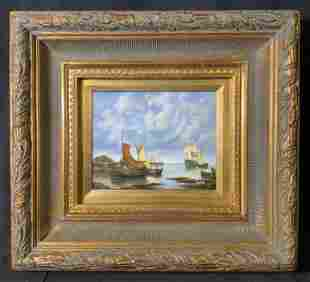TEMPLE Signed Oil Painting, Seascape