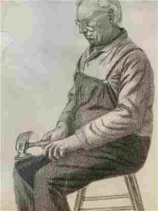 19th Cent AW LOWE Charcoal Drawing of Elderly Man