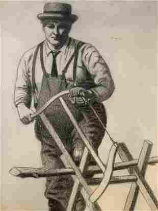 19th Cent AW LOWE Drawing of Man Sawing Wood