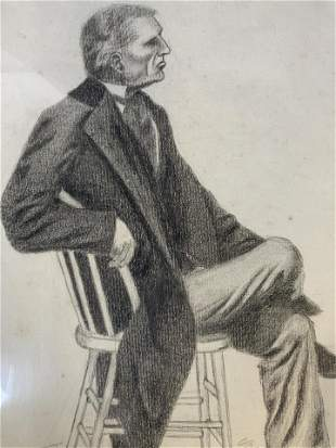 19th Cent AW LOWE Signed Charcoal Drawing
