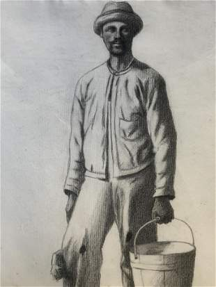19th Cent AW LOWE Charcoal Drawing of Painter