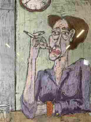 J RAO Lithograph of Woman Smoking