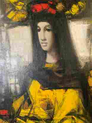 AM MACHOUREK Signed Oil on Canvas, Portrait