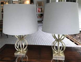 Pair Contemporary Gray Metal Orb Lamps w Shades