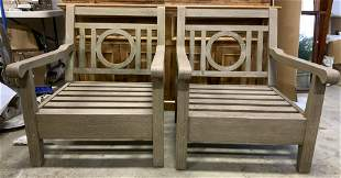 Pair Wood Style Arm Patio Chairs