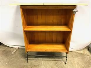 Vintage Wooden Bar W Metal Base & Bottle Opener