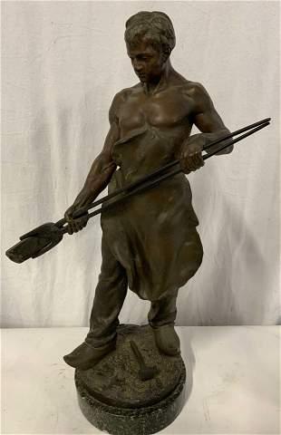 GEORGE DEMANGE Signed Le Forgeron Bronze Sculpture