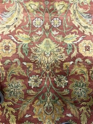 Vntg Handmade Oversized Oriental Fringed Wool Rug