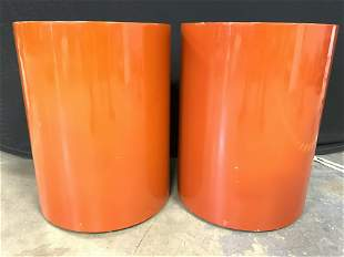 MCM Saffron Tone Lacquered Cylindrical End Tables