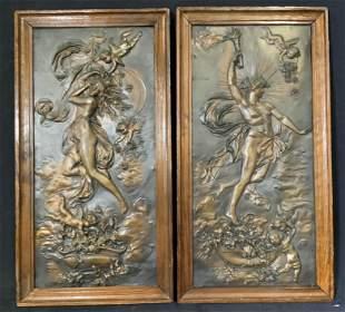 Pair Metal Relief Sculpture Panels