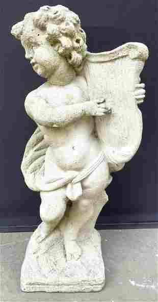 Cement Cupid W Harp Outdoor Garden Statuary