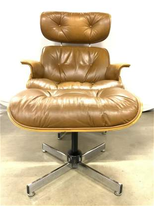MCM PLYCRAFT Swivel Lounge Chair and Ottoman