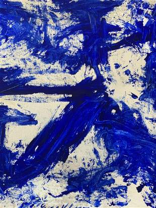 Signed Oil on Canvas Attributed to YVES KLEIN