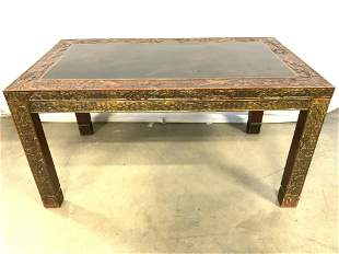 Signed Vtg Hand Painte Carved Tibetan Coffee Table
