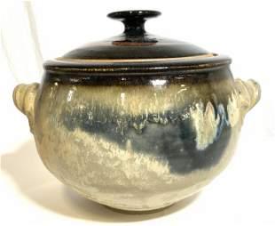 Mid Century Glazed Lidded Tabletop Jar Centerpiece
