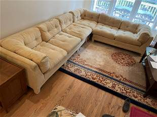 1960's button tufted upholstered sectional sofa