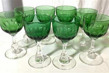 Green Handmade Crystal Cordial Stemware Set 8