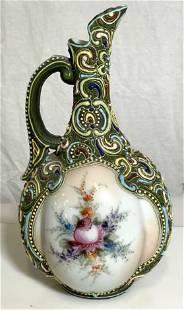 Hand Painted Vintage Porcelain Pitcher W Impasto design