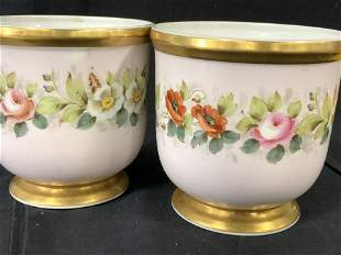 Pair VA PORTUGAL Hand painted Cachepots, Portugal