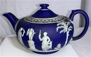 WEDGWOOD Blue Porcelain Teapot W Relief