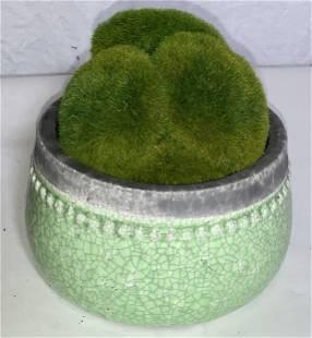 Green Glazed Terra Cotta Planter w Faux Moss
