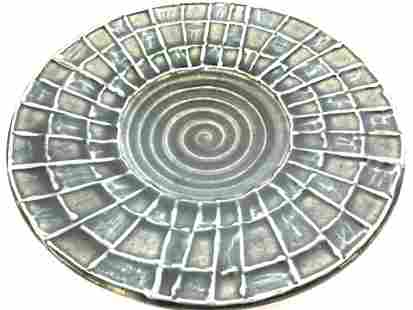 Signed Artist Studio Ceramic Embossed Bowl