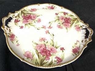 ELITE LIMOGES FRANCE Gilt & Flower Platter