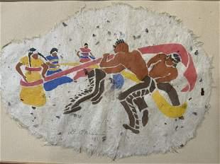 Signed Woodcut 1981, 'Ribbon Dance'