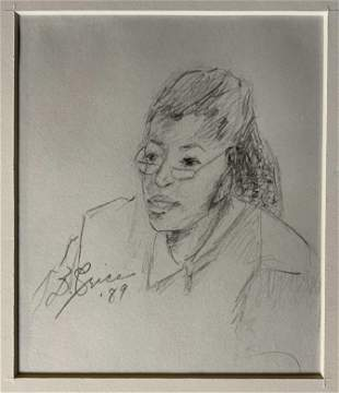 Signed Pencil Drawing, Female Portrait, 1989