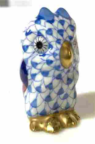 Collectible HEREND Fishnet Blue Owl Figurine
