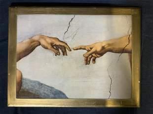 MICHELANGELO Hands of God Lithograph