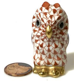 Collectible HEREND Fishnet Rust Owl Figurine