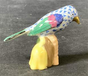 Collectible HEREND Porcelain Parrot Figurine