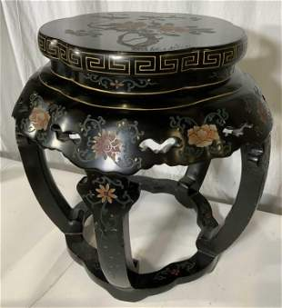 Asian Lacquered Wooden Drum Garden Stool