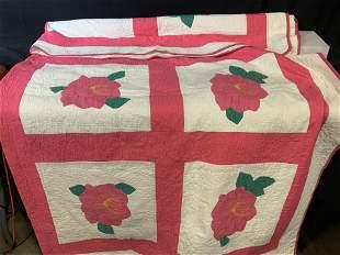 HANDMADE Vintage Cotton Quilt w Flower