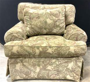 Pair Vintage Floral Detailed Skirted Armchairs